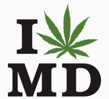 I Love Maryland Marijuana Cannabis Weed T-Shirt by MarijuanaTshirt
