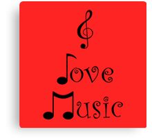 I Love Music - Retro Red Canvas Print