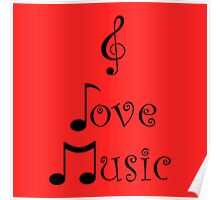 I Love Music - Retro Red Poster