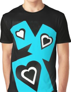 Hearts in Black Turquoise and White No Text Graphic T-Shirt