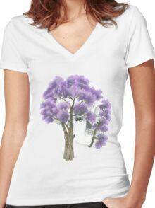 Summer Jacaranda Skull (no background) Women's Fitted V-Neck T-Shirt