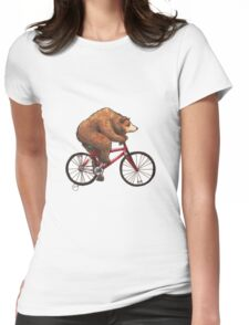 Bear on a Bike Womens Fitted T-Shirt