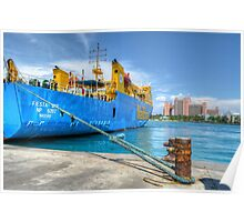 Mailboat Ferry docked at Potter's Cay in Nassau, The Bahamas Poster