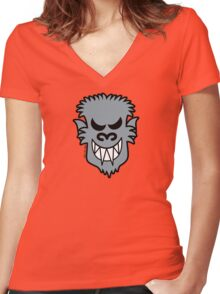 Naughty Halloween Werewolf Women's Fitted V-Neck T-Shirt