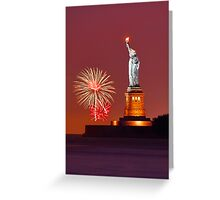 Statue Of Liberty With Fireworks Greeting Card