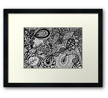 Black and white Doodle... Framed Print