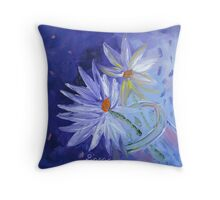 Glass bottle with flowers Throw Pillow