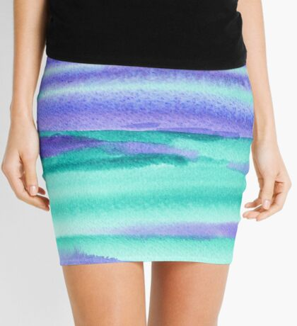 Watercolor Hand Painted Purple Turquoise Abstract Background Mini Skirt