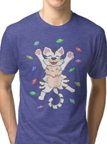 Kitty Heaven White Fur  Tri-blend T-Shirt