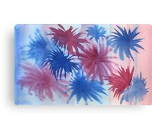 Watercolor Hand Painted Red Blue Sunburst Abstract Background Canvas Print