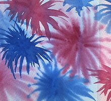 Watercolor Hand Painted Red Blue Sunburst Abstract Background by Beverly Claire Kaiya