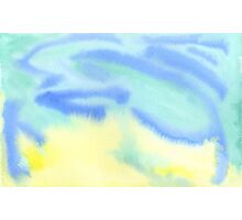 Watercolor Hand Painted Blue Yellow Green Abstract Background Photographic Print