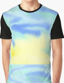 Watercolor Hand Painted Blue Yellow Green Abstract Background Graphic T-Shirt