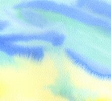 Watercolor Hand Painted Blue Yellow Green Abstract Background by Beverly Claire Kaiya