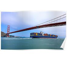 Commerce.- Cargo ship under the Golden Gate Bridge, San Francisco, California Poster