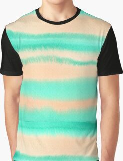 Watercolor Hand Painted Orange Green Stripes Abstract Background Graphic T-Shirt