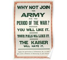 Why not join the army for the period of the warYou will like it Your pals will like it The Kaiser will hate it 197 Poster