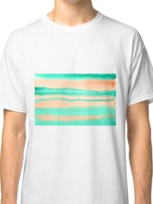 Watercolor Hand Painted Orange Green Stripes Abstract Background Classic T-Shirt