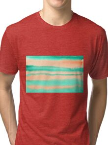 Watercolor Hand Painted Orange Green Stripes Abstract Background Tri-blend T-Shirt