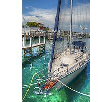 Boat docked at the marina in Nassau, The Bahamas Photographic Print