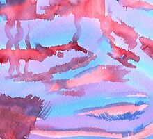 Watercolor Hand Painted Abstract Blue Purple Red Background by Beverly Claire Kaiya