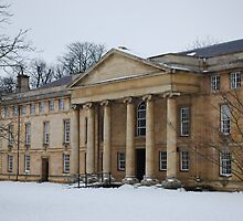 Downing College in Snow by Claire Elford