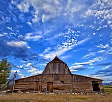Clouds above a barn at the John Moulton Homestead by Matt Suess