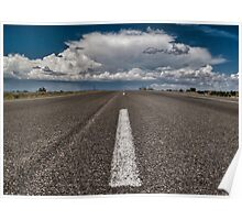 Monsoon clouds over road Poster