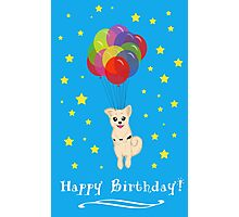 Puppy with Floating Balloons Photographic Print