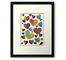 Hand-Painted Hearts in Colorful Chocolate Brown Framed Print