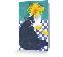 Still Life with Cat and Lemons Greeting Card