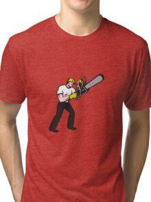 Lumberjack Tree Surgeon Arborist Chainsaw Tri-blend T-Shirt