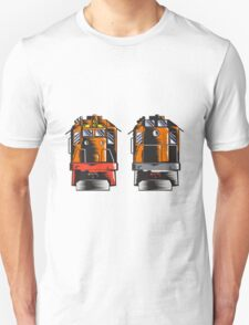 Diesel Train Front Rear Woodcut Retro Unisex T-Shirt