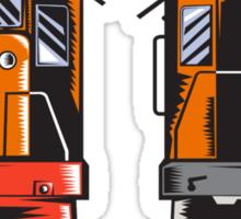 Diesel Train Front Rear Woodcut Retro Sticker