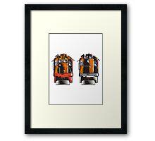 Diesel Train Front Rear Woodcut Retro Framed Print