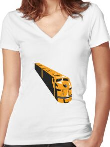 Diesel Train High Angle Retro Women's Fitted V-Neck T-Shirt