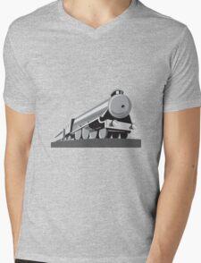 Steam Train Locomotive Retro Mens V-Neck T-Shirt