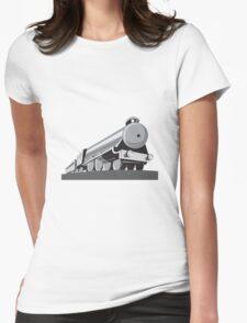 Steam Train Locomotive Retro Womens Fitted T-Shirt