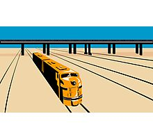 Diesel Train High Angle Retro Photographic Print