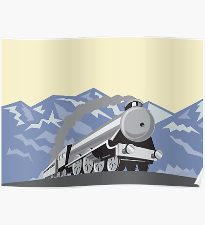 Steam Train Locomotive Mountains Retro Poster