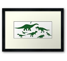 Green Dinosaur Pattern Framed Print