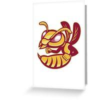 angry female hornet mascot Greeting Card