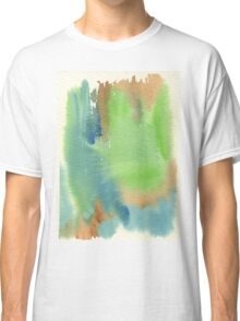 Watercolor Hand Painted Abstract Green Brown Blue Background Classic T-Shirt