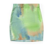 Watercolor Hand Painted Abstract Green Brown Blue Background Mini Skirt
