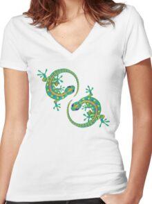 Daco Lizard Art T-Shirt Women's Fitted V-Neck T-Shirt
