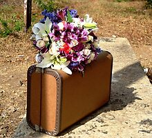 Bride's bouquet and old brief case by Laura Jane Coelho