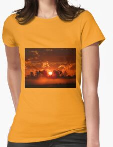 Flaming Horses over the Foggy Sunrise  Womens Fitted T-Shirt