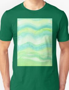 Hand-Painted Fresh Green Watercolor Abstract Background  Unisex T-Shirt