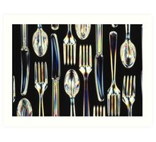 Plastic Knives, Forks and Spoons Arranged In A Pattern Art Print