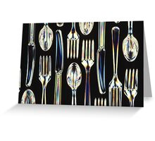 Plastic Knives, Forks and Spoons Arranged In A Pattern Greeting Card